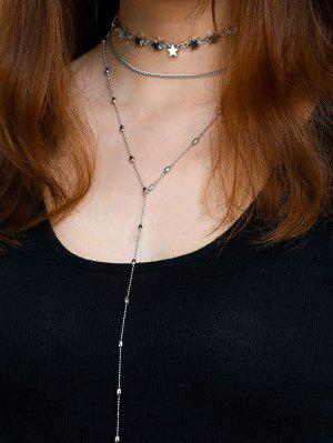 Star Collarbone Chain Necklace Set - Silver
