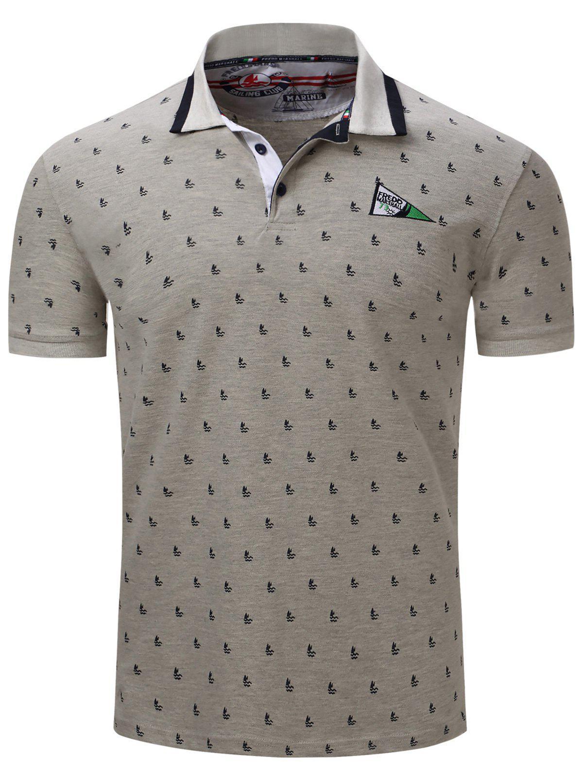 Turn Down Collar Sailing Print Embroidered Polo T Shirt 179120312
