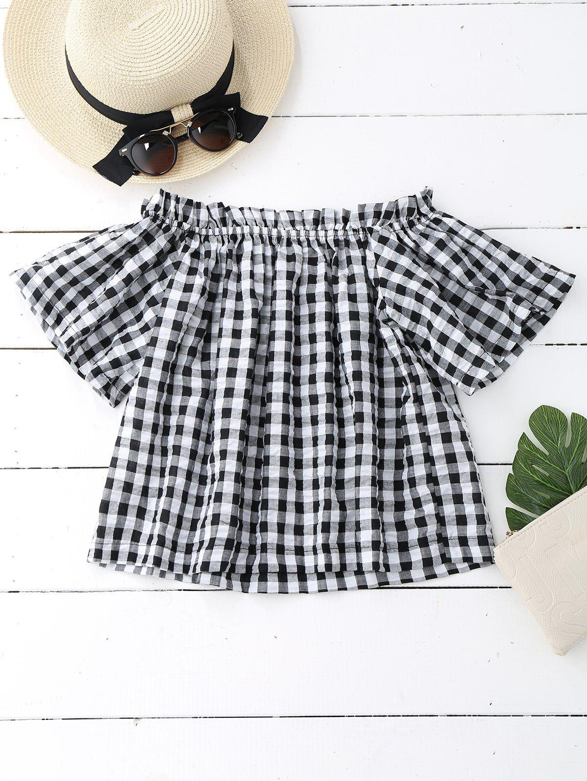 Off The Shoulder Ruffled Checked Blouse 215985402