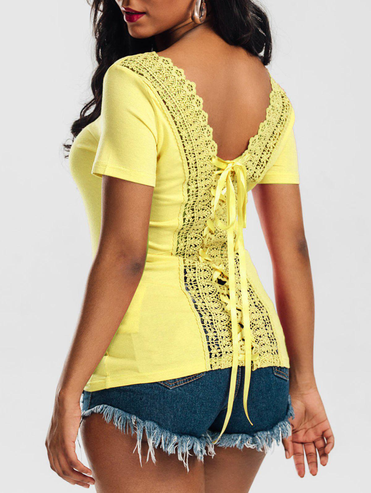 Scoop Neck Lace up Laced Top 213278710