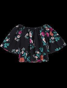 Negro Hombro Floral De Suelto Top L 0wp4qO