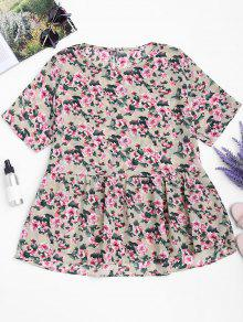 Loose Ruffles Floral Top - Floral S