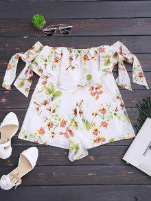 Strapless Floral Bowknot Tube Romper - Floral M
