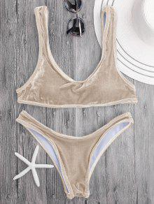 Velvet Bralette Scoop Bikini Set - Camel M