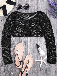 Crochet Fishnet Beach Cover Up Crop Top - Black S