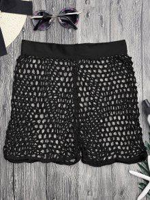 Crochet Fishnet Beach Cover Up Shorts - Black M