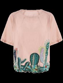 Round Collar Cacti Embroidered Blouse; Round Collar Cacti Embroidered Blouse  ...