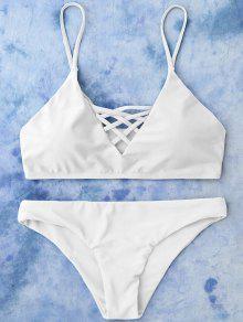 Lace Up Bikini Swimwear - White M