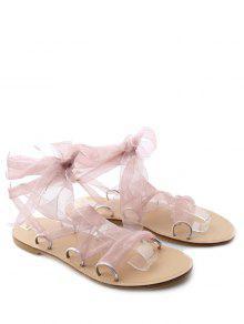 Buy Metal Ring Flat Heel Tie Sandals - PINK 40