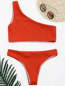 Ribbed Texture One Shoulder Bikini - Red M