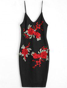 فستان ضيق مثير مرقع مطرز بالوردة - أسود S
