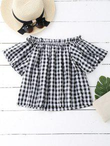 Off The Shoulder Ruffled Checked Blouse - Checked M