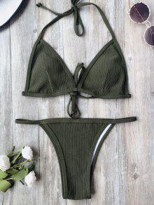Padded Textured String Bikini Set - Army Green S