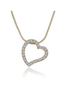 Hollow Out Heart Rhinestone Inlay Pendant Necklace - Golden