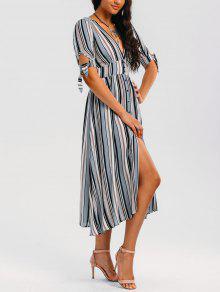 فستان مخطط بونوت زر ميدي - شريط M