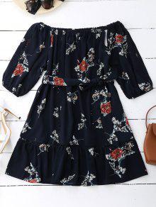 Floral Print Cut Out Belted Dress - Purplish Blue S