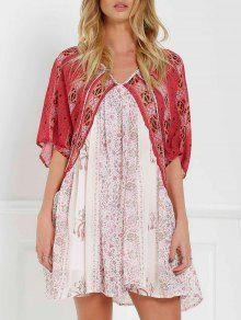 Short Sleeve Vintage Print Dress - Red With White Xs