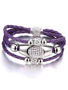 Magnet Buckle Layered Rhinestone Beaded Bracelet - Purple