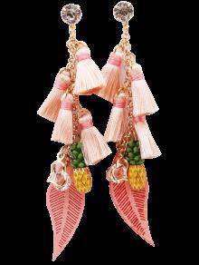 Rhinestone Pineapple Tassel Heart Chain Earrings - Pink