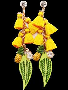 Rhinestone Pineapple Tassel Heart Chain Earrings - Yellow