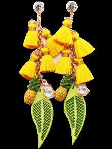 Pendientes De Cadena De Corazón De Borla De Piña De Diamantes De Imitación - Amarillo