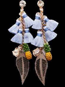 Rhinestone Pineapple Tassel Heart Chain Earrings - Azure
