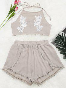 Lace Floral Halter Crop Top And Shorts - Yellowish Pink M