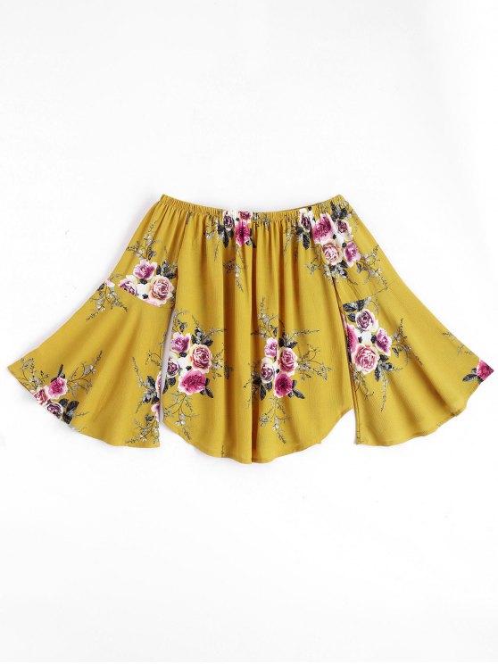 Floral Flare Sleeve Off Shoulder Top - Amarelo M