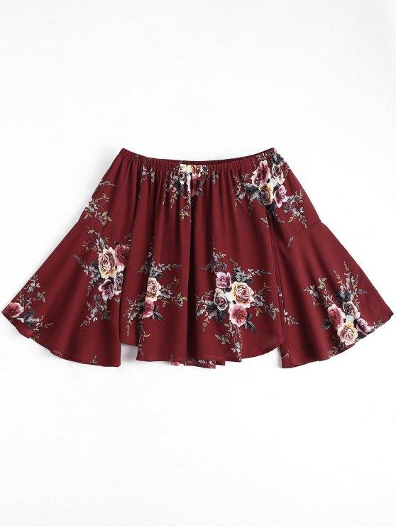 Floral Flare Sleeve Off Shoulder Top - Vinho vermelho S