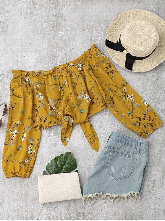 womens Self Tied Floral Off Shoulder Top - YELLOW S