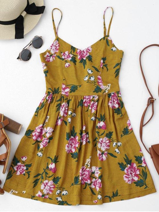 Vestido Mini con Tirante Fino de Flores con Detalle Ahuecado en Espalda - Floral M