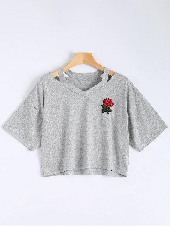 ladies Floral Embroidered Cold Shoulder Top - GRAY M