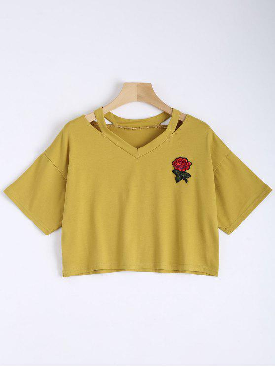 fancy Floral Embroidered Cold Shoulder Top - YELLOW S
