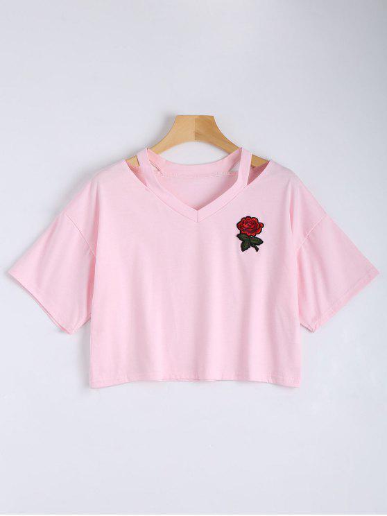 Blume gestickte kalte Schulter Oberseite - Pink S