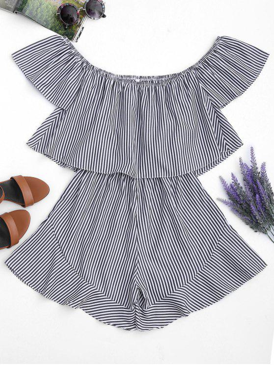 chic Ruffle Striped Off The Shoulder Romper - STRIPE L