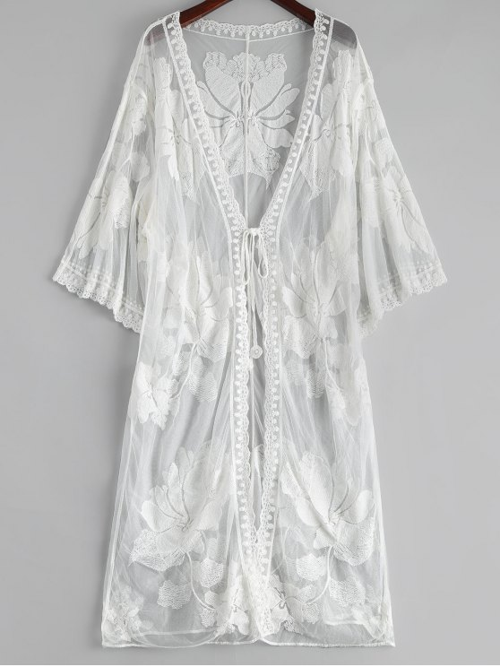 outfits Floral Embroidered Sheer Lace Kimono Cover Up - WHITE ONE SIZE
