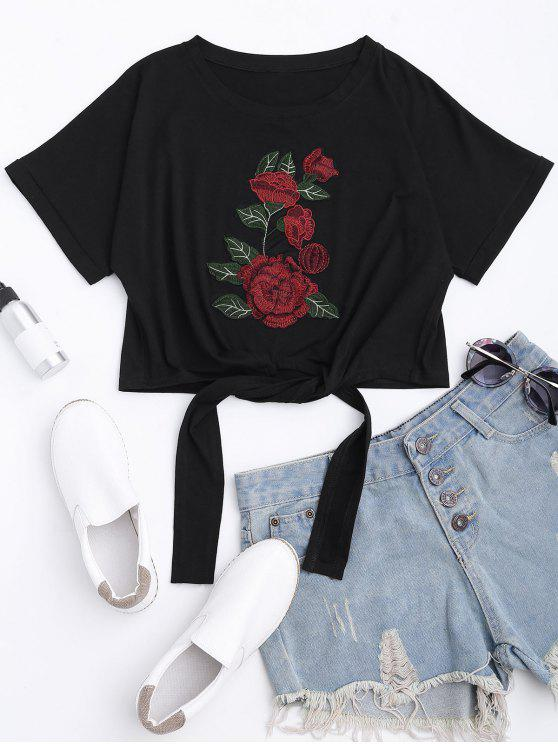 fancy Floral Patched Self Tie Bowknot Tee - BLACK L
