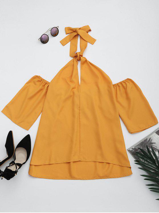 Cut Out Self Tie Blusa Halter - Amarelo Gengibre 2XL