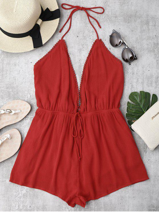 latest Plunge Halter Beach Cover Up Romper - RED S