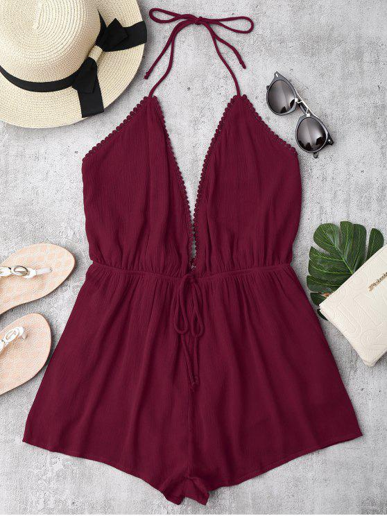 trendy Plunge Halter Beach Cover Up Romper - BURGUNDY L
