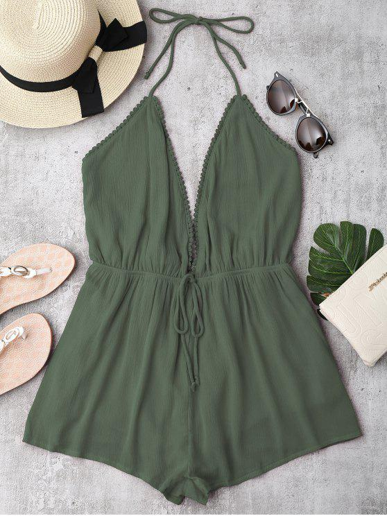 outfit Plunge Halter Beach Cover Up Romper - ARMY GREEN M