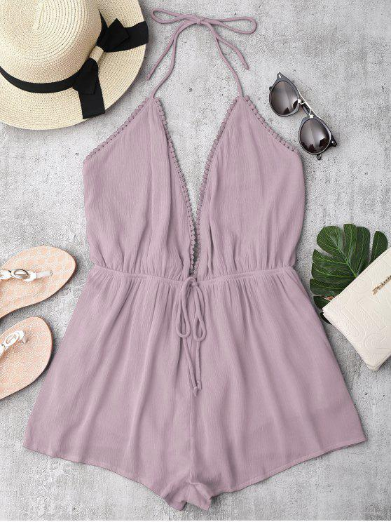 chic Plunge Halter Beach Cover Up Romper - PURPLE S