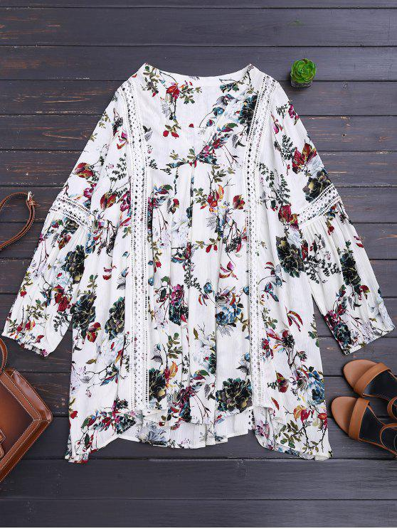 lady Cut Out Floral Tunic Dress - WHITE M