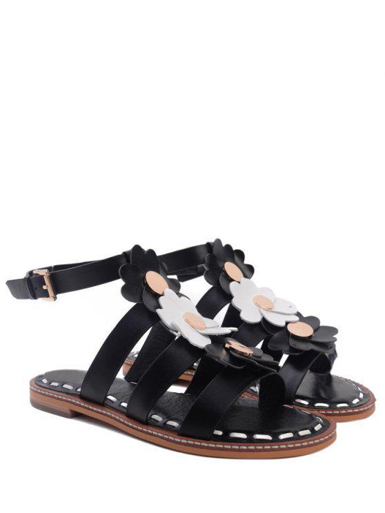 Sandales à talons plats orné de fleur forme de T - Noir 38
