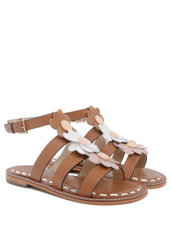 outfits Flowers T Bar Flat Heel Sandals - BROWN 37