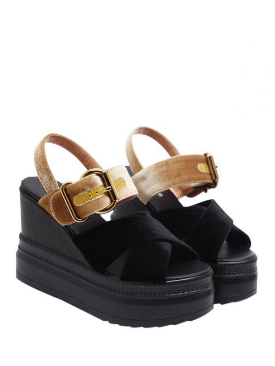 chic Platform Buckle Strap Velvet Sandals - BLACK AND GOLDEN 37