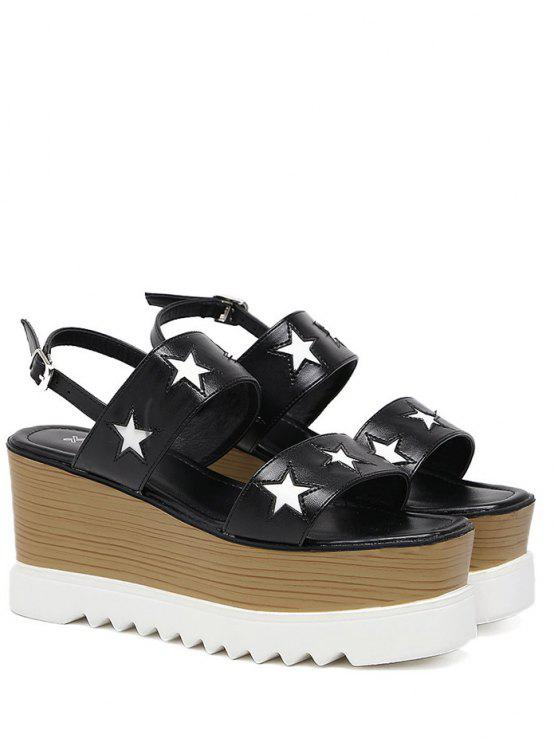 Platform Two Tone Star Pattern Sandals - Black 37