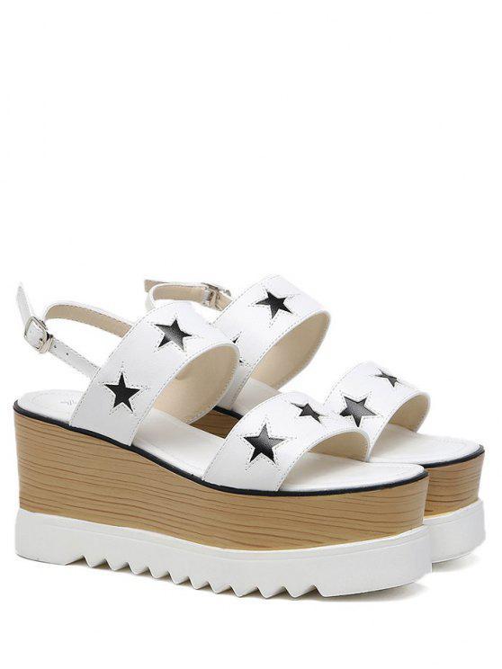 Plataforma de dos tonos estrella patrón sandalias - Blanco 39