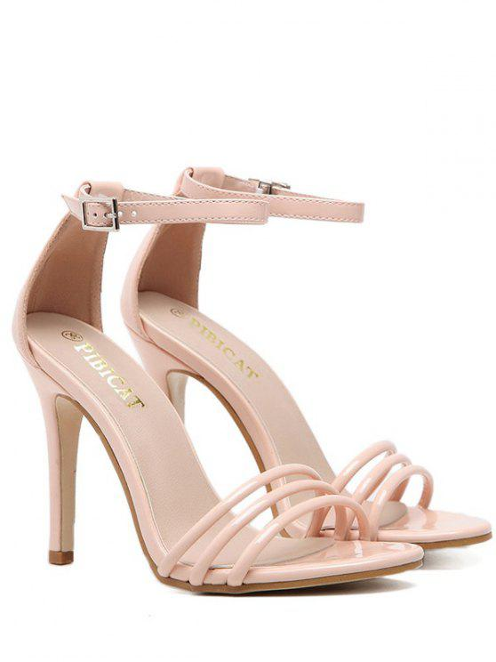 Sandalen aus Lackleder mit Knöchelriemen und Band - Nude Pink  37