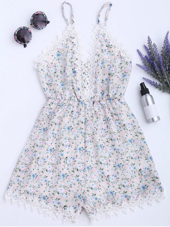 Mameluco del cami de la impresión floral del panel del cordón - Floral XL